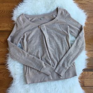 Anthropologie Holding Horses XS marled camel top
